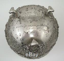 Antique Dutch Reticulated Silver & Crystal Punch Bowl 986 Grams