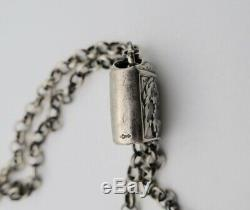 Antique Dutch Sewing KNITTING NEEDLE GUARD & CHAIN 835 Silver Necklace