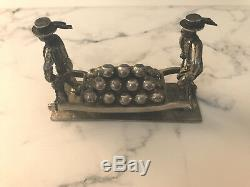 Antique Dutch Silver Cheese Marker Two Men Moveable Miniature Figure Paperweight