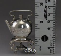Antique Dutch Silver Fancy Miniature Teapot / Kettle on Stand Realistic