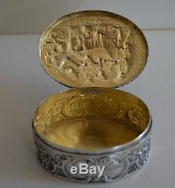 Antique Dutch Silver Lidded Box With Tavern Scene Great Gift
