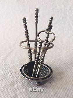 Antique Dutch Silver Miniature Fireplace Tools Doll House Furniture