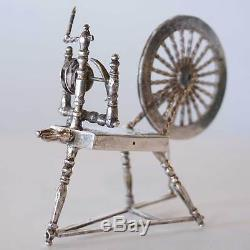 Antique Dutch Silver Miniature Model of a Spinning Wheel 19th century