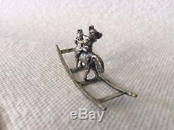 Antique Dutch Silver Miniature Musketeer Rocking Horse Doll House Furniture
