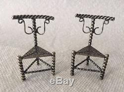 Antique Dutch Silver Miniature Pair of Chairs Doll House Furniture