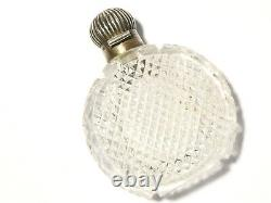 Antique Dutch Silver Topped HEAVY Cut Glass Scent Perfume Bottle 3.5 #T92A