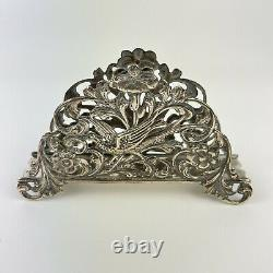 Antique Dutch Solid Silver Letter Rack Pierced Bird And Scrolling Foliage