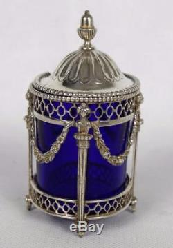 Antique Dutch Solid Silver Mustard Pot with Blue Glass Liner 83g. 833