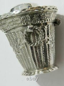 Antique Dutch Solid Silver Novelty Basket Form Peppermint Box