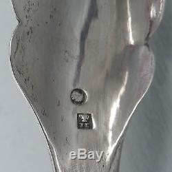 Antique Dutch Solid Silver Salad Tongs Jointed Fork & Spoon Richly Engraved SL