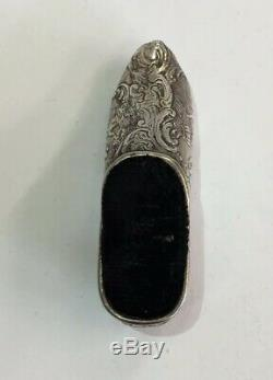 Antique Dutch Solid Silver Shoe Pin Cushion 6cm In Length