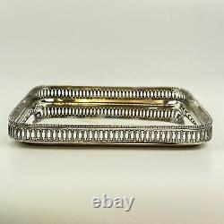Antique Dutch Solid Silver Small Galleried Tray Square Pierced Gallery 1910 15cm