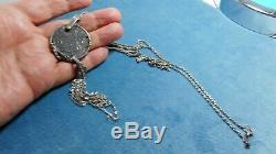 Antique Dutch Sterling Silver Coin Pendant Necklace N6936
