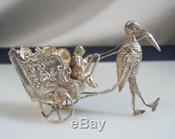 Antique Dutch Sterling Silver Miniature Stork Carriage with Moving Wheels 52657