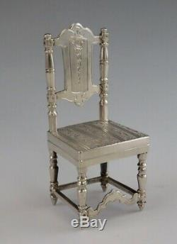 Antique Dutch Sterling Silver Miniature Straight Panel Engraved Back Chair