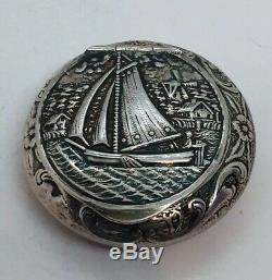 Antique Dutch Sterling Silver Sailboat Design Round Pill Box