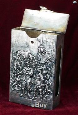 Antique Dutch The Night Watch Painting Embossed Sterling Silver Match Safe Box