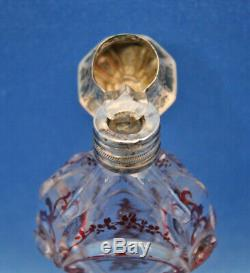 Antique Dutch crystal Ruby Red Decoration SiLVER Repousse Cap Perfume+Stopper