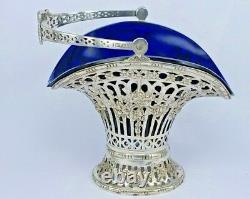 Antique Dutch silver flared candy basket with original thick blue glass liner