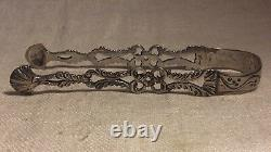 Antique Early Dutch Sterling Silver Ornate Tongs