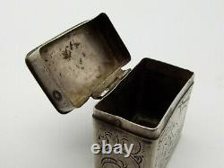 Antique Georgian Dutch 833 Silver Engraved Hinged Box Cottage Snuff Peppermint