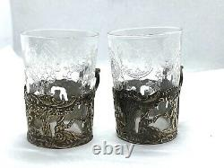 Antique Hallmarked Dutch Solid Silver Tot Glass Holders With Etched Glasses