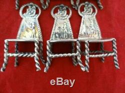 Antique Hendrick Preyer Dutch Sterling Silver Miniature Set 6 Chairs Table