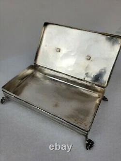 Antique Mid 1800's Dutch Sterling Silver Footed, Hinged Engraved Horse Wagon Box