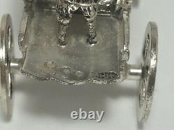 Antique Miniature Dutch Silver One Horse Carriage With Crown