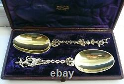 Antique Pair DUTCH Silver Gilt Figural spoons Hope and Rope maker Groningen