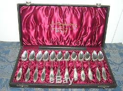 Antique Set Of 12 Solid 835 Silver Hallmarked Dutch Tea Spoons