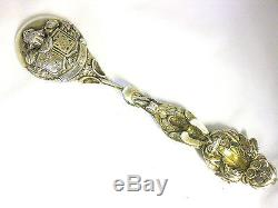 Antique Solid Silver Large Dutch Collector`s Spoon