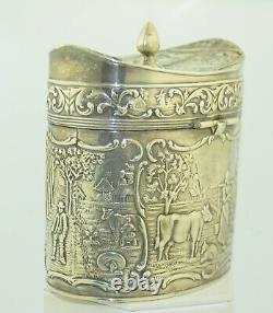 Antique Sterling Silver Hinged Dutch Scene Repousse Tea Caddy