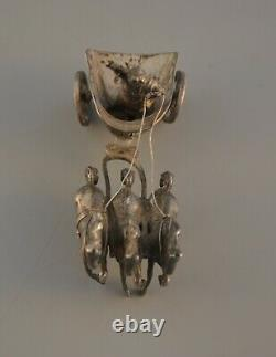 Antique Sterling Silver Roman Chariot with 3 Horses & Driver Dutch 930
