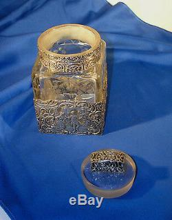 Antique Vanity Jar Dutch Repousse Silver with Lovers & Etched Square Crystal