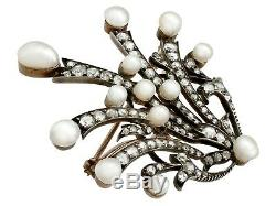 Antique Victorian 4.05ct Diamond & Pearl 9ct Yellow Gold and Silver Tiara Brooch