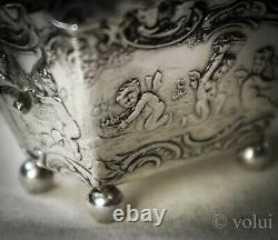 Antique Victorian Dutch Silver Embossed Two Handled Basket 1896