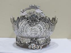 Antique Vintage Art Deco. Dutch Sterling Silver Oval Footed Centerpiece