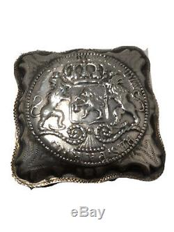 Antique sterling silver Dutch Peppermint Pill Snuff Box w coin c1867