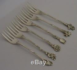 BEAUTIFULLY DESIGNED DUTCH SILVER CAKE / PASTRY FORKS ART NOUVEAU STYLE c1950's