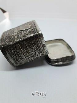 Beautiful Antique Dutch Solid Silver Peppermint Or Snuff Box Dated 1856