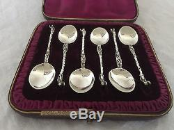 Beautiful Cased Set Of 6 Dutch Apostle Solid Silver Teaspoons