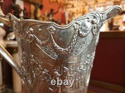 Big antique Silver plated Dutch pitcher with scenes