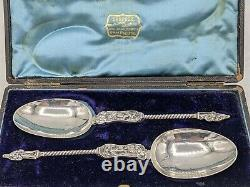 Boxed Pair Dutch Silver Apostle Serving Spoons Rinze Jans Spaanstra, Circa 1880