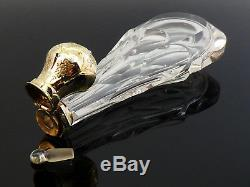 C1860, ANTIQUE DUTCH 14ct GOLD MOUNTED CUT GLASS CRYSTAL SCENT PERFUME BOTTLE