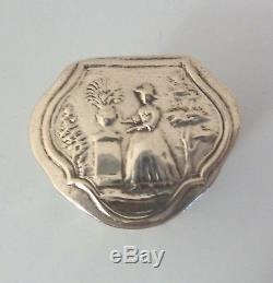 C19th DUTCH Solid SILVER Embossed PEPPERMINT or Spice or Snuff BOX