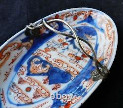 Chinese 18thC Kangxi Dutch Export Porcelain Dish with Silver Mount Handle