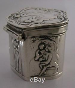 DUTCH ANTIQUE SOLID SILVER PEPPERMINT or SNUFF BOX c1890 ANTIQUE
