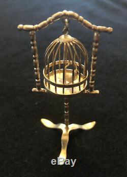 Dutch 19 C Silver Miniature Doll House Standing Birdcage With Bird