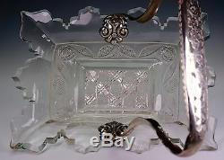Dutch 19th Century Ornately Cut Glass Bowl with Marked Silver Handle